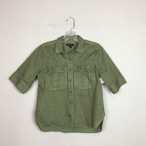 J. Crew army green utility button up blouse size 0